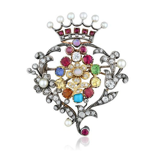 Victorian Multi-Colored Gemstone Brooch
