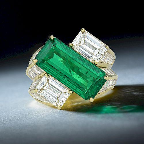 Hammerman Brothers Zambian No-Oil Emerald and Diamond Ring