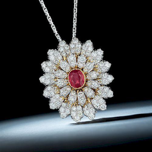 Mario Buccellati Burmese Unheated Ruby and Diamond Pendant/Brooch Necklace