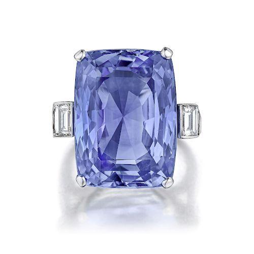 30.64-Carat Sapphire and Diamond Ring