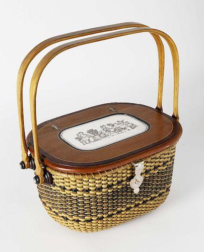Harry Hilbert (1917-2010) Double Handle Inlaid Lidded Nantucket Basket, circa 1990