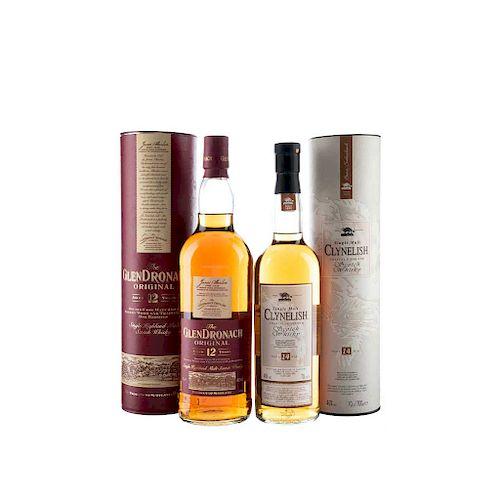 Whisky de Escocia. a) Clynelish. 14 años. Single Malt. Highland. b) The Glendronach Original.<R...
