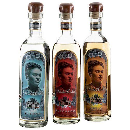 Frida Kahlo. Tequila añejo, reposado, blanco. 100 agave. Arandas, Jalisco. Piezas: 3.