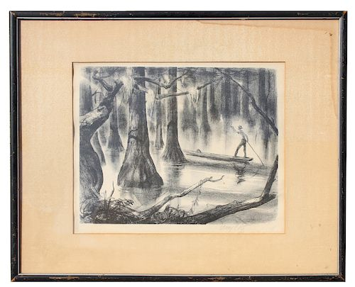 """Henry Pitz (1895-1976) """"Swamp Land"""" Lithograph"""