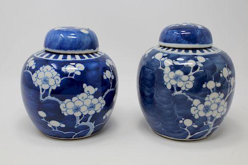 (2) Antique Chinese Hawthorne Pattern Lidded Jars