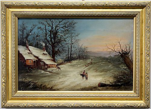 Signed, European School 19th C. Winter Landscape