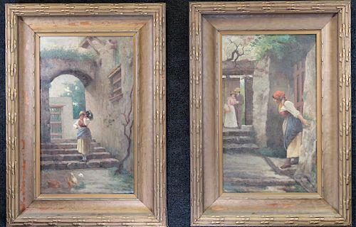 Gaetano Capone (1845-1920) Courtyard Scene Pair
