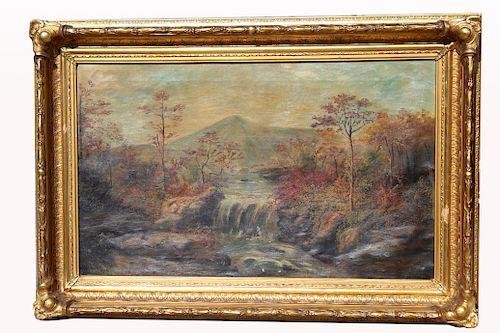 Large 19th C. River Landscape Painting
