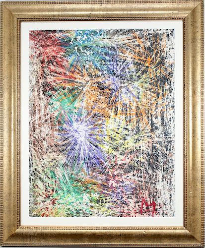 """American School, """"Fireworks"""" Mixed Media. Signed"""
