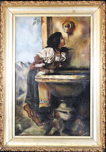 """""""Roman Girl at a Fountain"""" Genre Painting"""