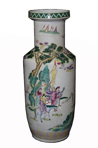 Signed, Large Chinese Famille Verte Porcelain Vase