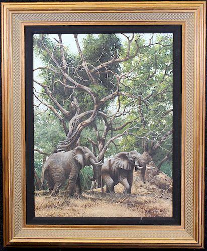 Garreth Hook, Painting of Elephants Under Trees