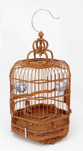 Chinese, Vintage Carved Bamboo Bird Cage