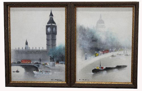 H Mann, (2) Signed Thames River Paintings