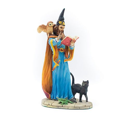 CERAMIC CLOAKED WIZARD CASTING A SPELL