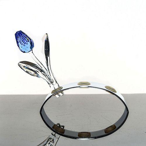 SWAROVSKI CRYSTAL FLOWER FIGURE, BLUE TULIP