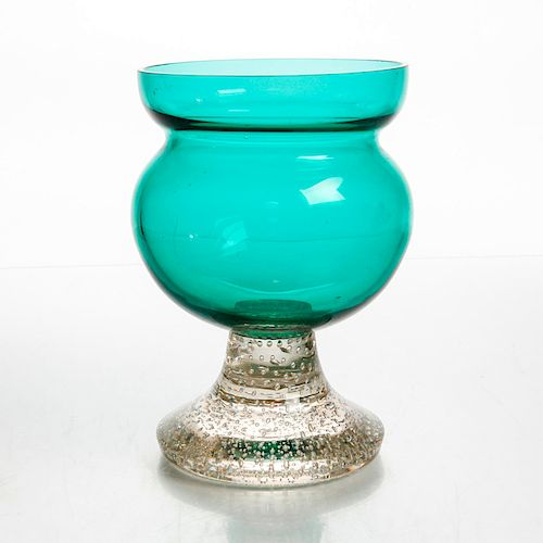 CONTEMPORARY ART GLASS PEDESTAL VASE