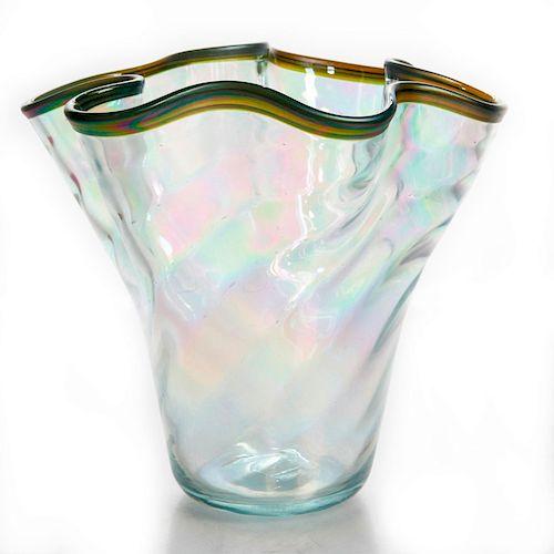 CLIFF GOODMAN DECORATIVE ART GLASS VASE, ARTIST SIGNED