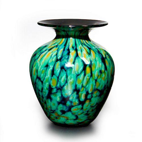 MURANO STYLE SPATTER GLASS VASE, 2004