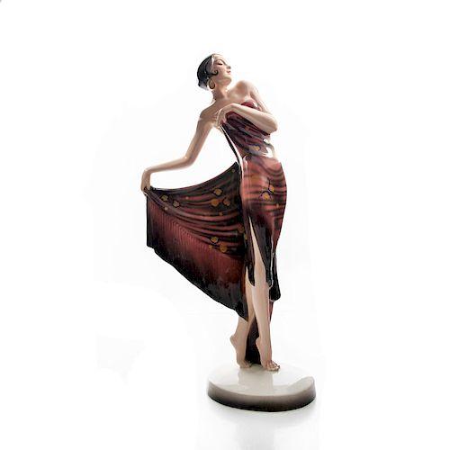 VINTAGE GOLDSCHEIDER ART DECO FIGURINE, SPANISHER SHAWL