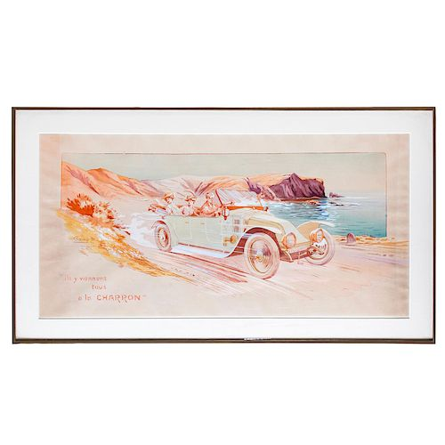HAND COLORED FRENCH LITHOGRAPH, CHARRON AUTOMOBILE