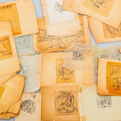 ART NOUVEAU PERIOD ORIGINAL ARTIST CROQUIS SKETCHES