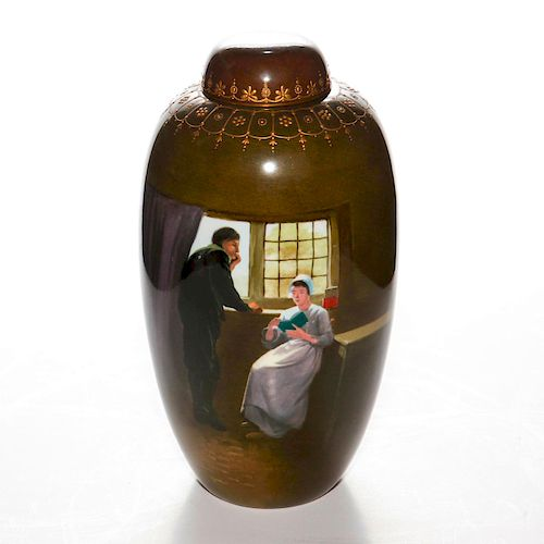 ROYAL DOULTON LIDDED PAINTED GINGER JAR, THE GREEN BOOK