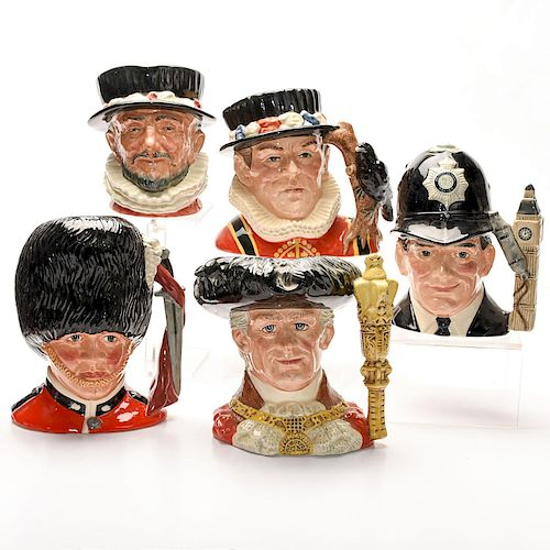 5 LARGE ROYAL DOULTON LONDON COLLECTION CHARACTER JUGS