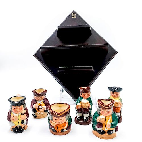 6 ROYAL DOULTON TINY TOBIES JUGS SET WITH WALL STAND