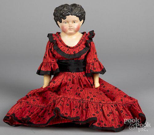 Greiner-type papier-mâché head and shoulder doll