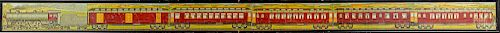Two large framed train puzzles, etc.