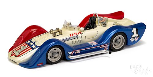 Hand built balsa wood scale model Can Am race car