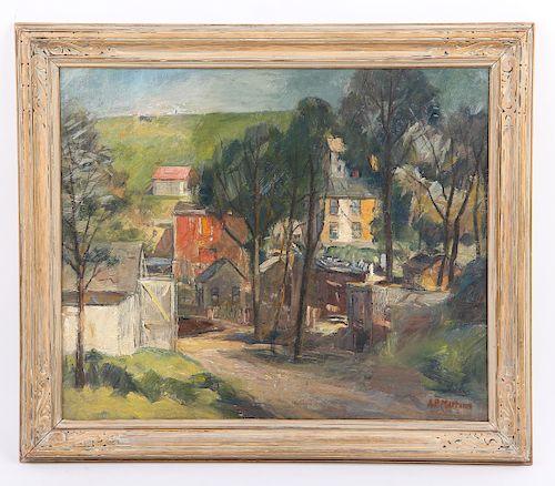 """Antonio P. Martino (American, 1902-1988) """"The White Barn"""", 1930"""