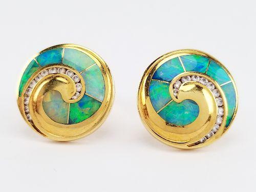 18K Gold Nautilus Shaped Opal Inlaid Earrings