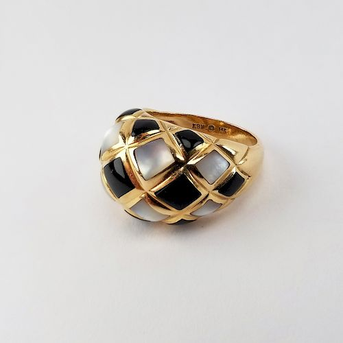 14K 'KBN' Onyx & Mother of Pearl Ring