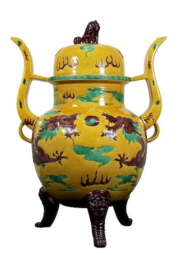 Glazed Chinese Qianlong Tripod Censer
