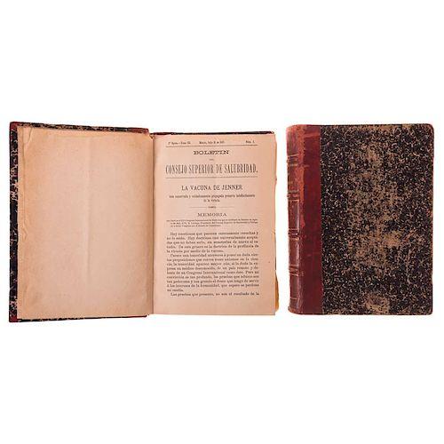 LOTE DE LIBROS: Boletín del Consejo Superior de Salubridad. México, 1897 - 1898 / 1907 - 1908. 3ra. época. Tomos III y XIII. Piezas: 2.