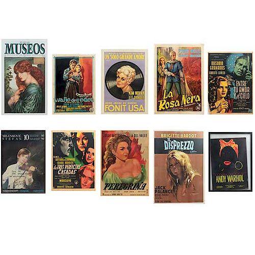 """Lote de 10 posters de exposiciones y películas. Siglo XX. Consta de: """"Il Disprezzo"""", """"La Rosa Nera"""", """"Un Solo Grande Amore"""", otros."""