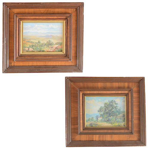 Lote de 2 obras pictóricas de Isidoro Martínez Colín. Paisaje y Paisaje Rural. Firmados. Principios del SXX. Enmarcados. 15 x 20 cm.