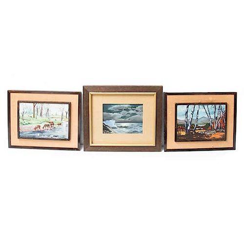 Lote de 3 obras pictóricas. Enmarcadas en madera. Consta de: C. Varela. Paisaje boscoso y Paisaje con ciervos. y Celia Vulio. Paisaje.