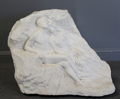 Large Carved Marble Relief Of Nude Lovers