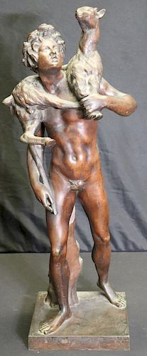 UNSIGNED. Large Bronze Figure Carrying Animal.