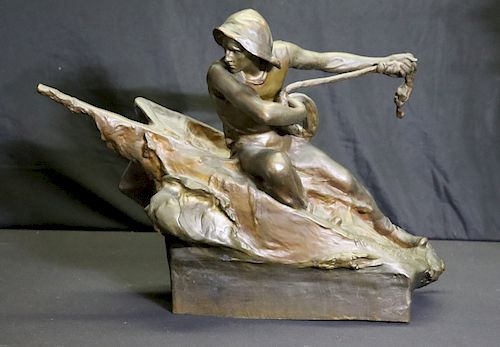 """Podolak . Signed And Large Bronze """"Safely Home"""""""