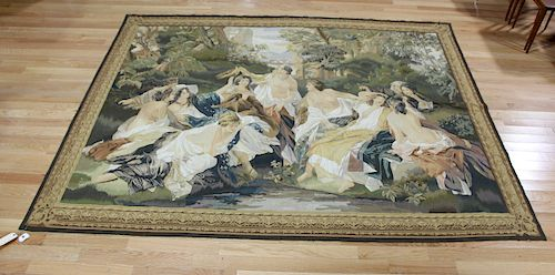 Vintage And Fine Quality Tapestry  Maidens.