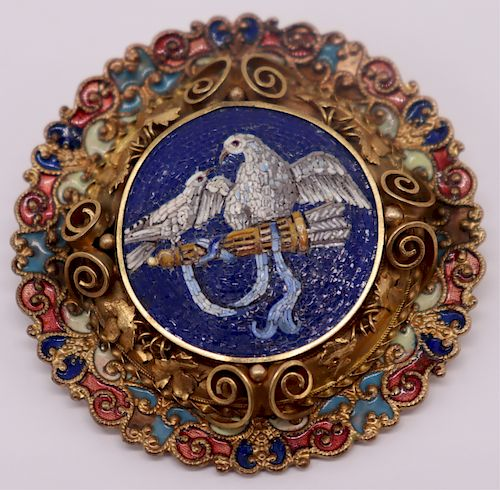 JEWELRY. Antique Micromosaic Pendant of Doves.