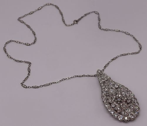JEWELRY. Belle Epoque Platinum and Diamond Pendant