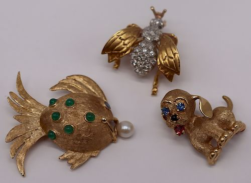 JEWELRY. (3) Vintage Gold Animal Form Brooches.