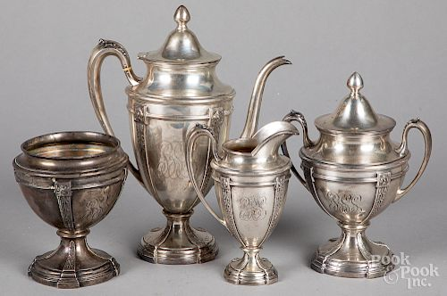 Sterling silver four-piece tea service