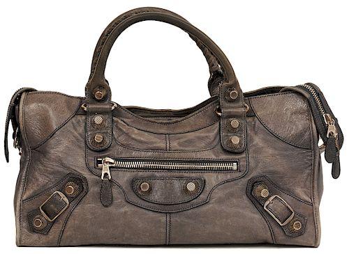 Balanciaga Distressed Gray City Stud Bag