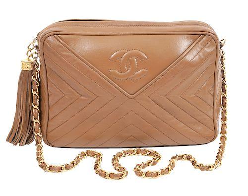Chanel Vintage Camel Chevron Shoulder Bag 1986